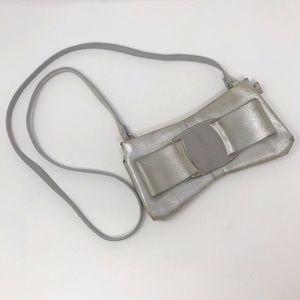 Ferragamo Vara Bow Crossbody Purse Clutch Silver